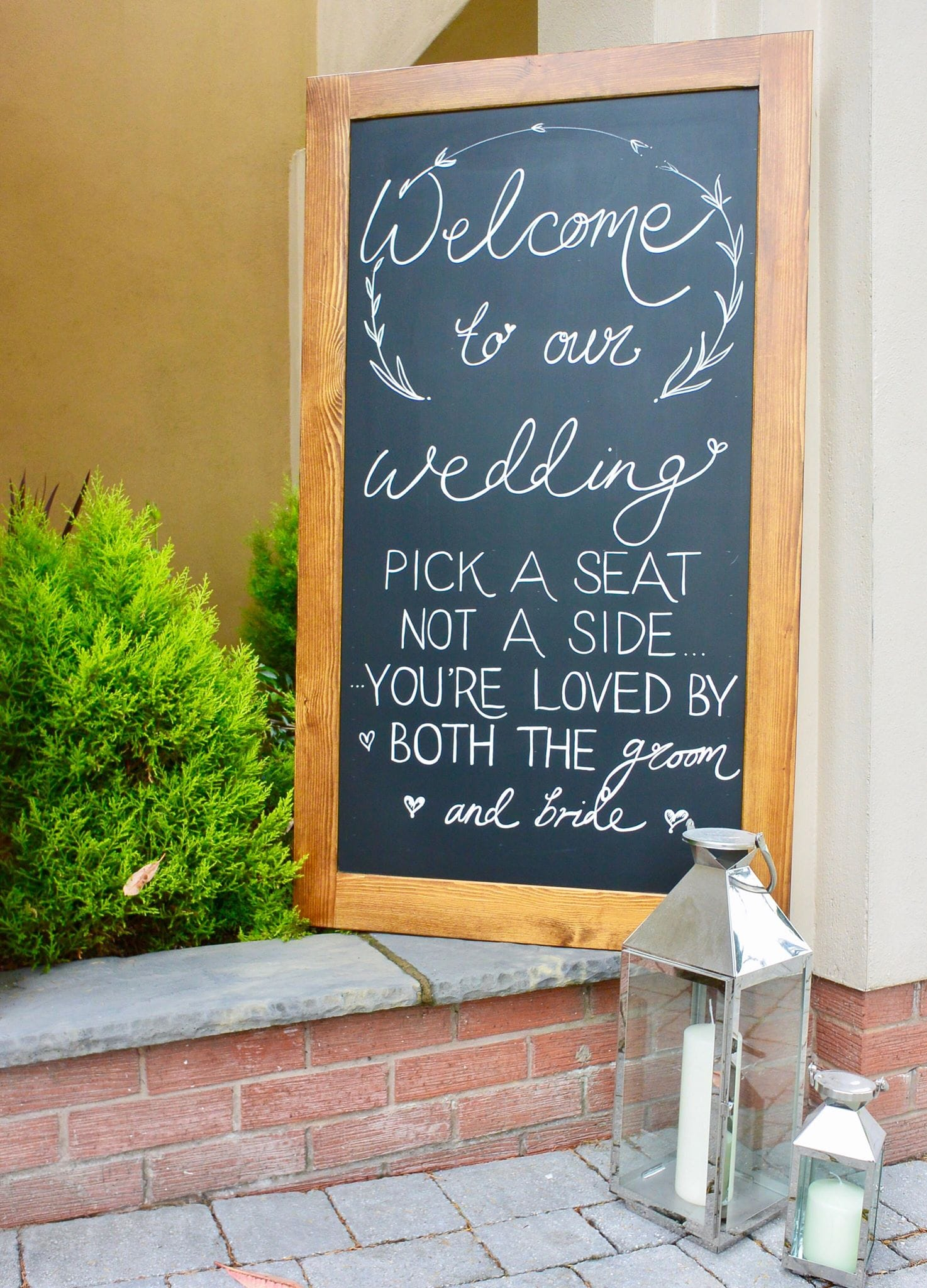 Sign Written Welcome Board - Diamond Hire & Styling